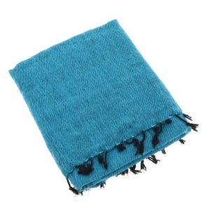 Indra - plaid, throw or blanket from yak wool - turquoise