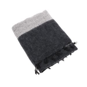 Indra - plaid, throw or blanket from yak wool - black grey stripe