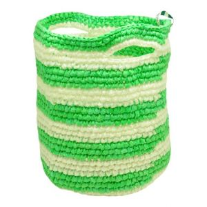 Poipet - medium basket from gerecycled plastic-striped green/white