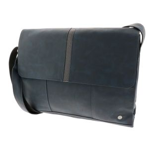 16/17 inch laptop bag of blue PU-leather - SAMPLE