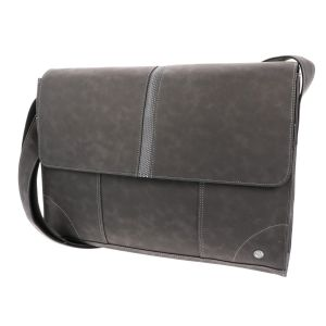 16/17 inch laptop bag of grey PU-leather - SAMPLE