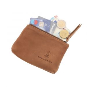 small RFID zipp wallet of vintage brown eco leather