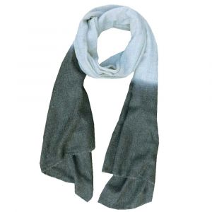 Purna - soft scarf  of finely woven wool with dip-dye - grey - dark gray