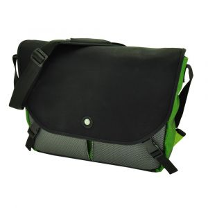 "Rio - spacious , vegan 15,4"" laptop messenger bag with urban look - green"