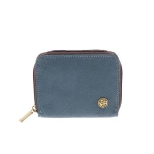 Billy – handy wallet from eco leather with zipper - grey blue
