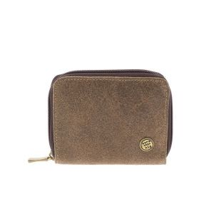 Billy – handy wallet from eco leather with zipper - bizon brown