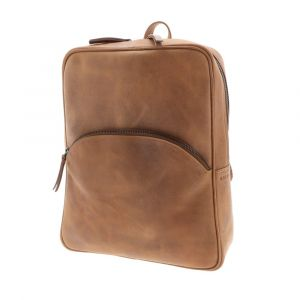 Backpack of brown vintage eco leather with lots of pockets