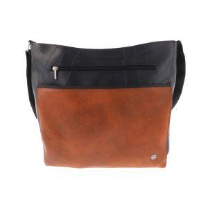 Large women's shoulder bag of tyre tube and eco leather - Bonita - orange
