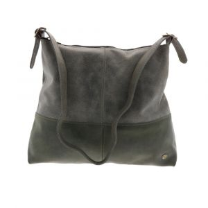 Large leather shopper bag with top zipper in dark green and greyish green