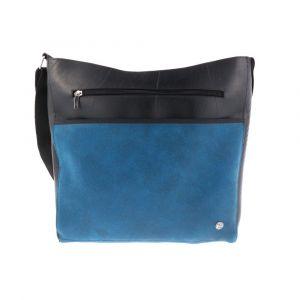 Large women's shoulder bag of tyre tube and eco leather - Bonita - blue