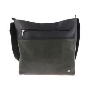 Large women's shoulder bag of tyre tube and eco leather - Bonita - dark green