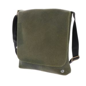 Shoulder bag of army green eco leather - SAMPLE