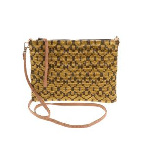 Cross body shoulder bag with woven pattern - Iccha - mustard yellow