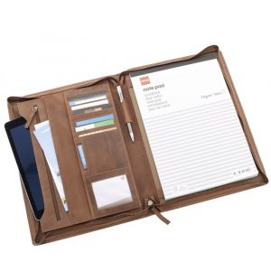 Deluxe A4 writing case made of brown vintage eco leather - Chester