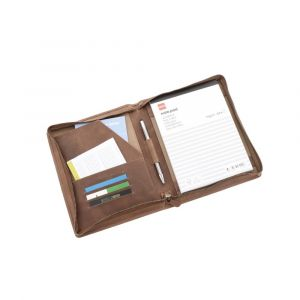 Conference folder A5 brown leather with practical compartments - Brighton