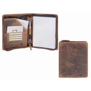 Conference folder A5 brown leather with practical compartments