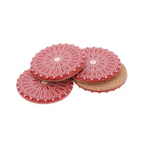 Batalha - set 4 luxurious coasters of ceramic and cork – red