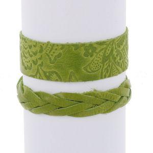 Flor & Trenza: set of 2 leather bracelets - light green