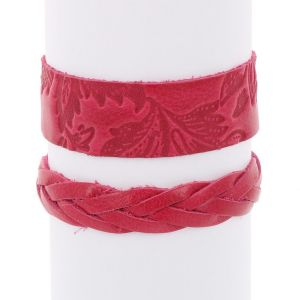 Flor & Trenza: set of 2 leather bracelets - pink