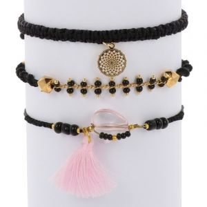 Ibiza inspired bracelet set - black gold