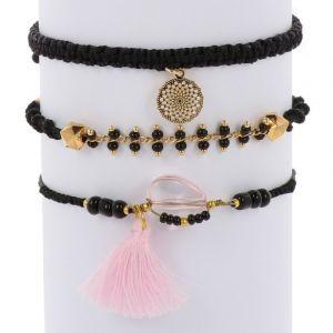 Ibiza inspired bracelet set - black gold