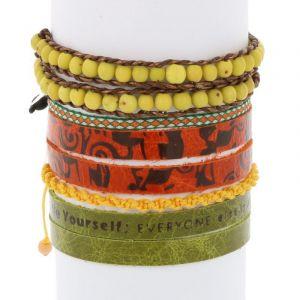 Colombianas - set of colourful handmade bracelets - green - yellow - orange