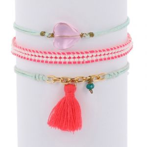Ibiza inspired bracelet set - blue pink