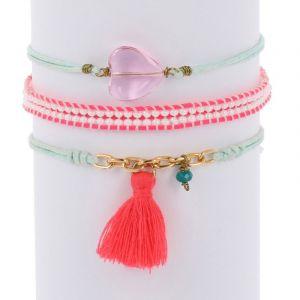 Ibiza inspired bracelet set - blue pink