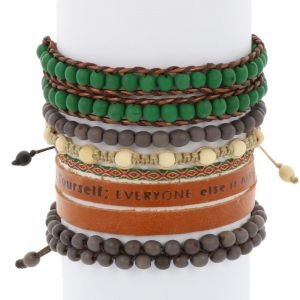 Colombianas - set of colourful handmade bracelets - green - grey - brown