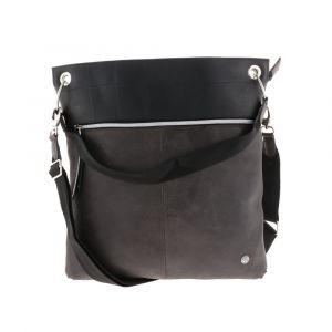 shoulder bag from inner tube and eco leather - grey