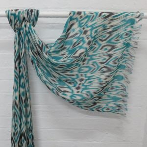 Asha - fine wool scarf with abstract print