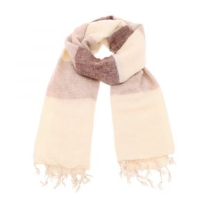 Pina - wide 'yak wool' shawl or wrap - cream brown stripe