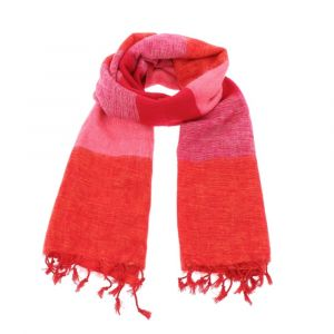 Pina - wide 'yak wool' shawl or wrap - orange pink red stripe