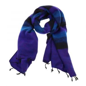 Pina - wide 'yak wool' shawl or wrap - blue purple stripe