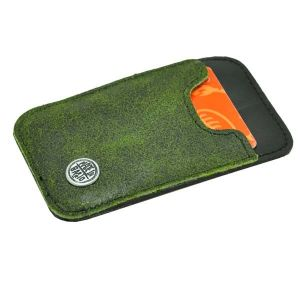 Slim - mini wallet of tire tube and eco leather - green