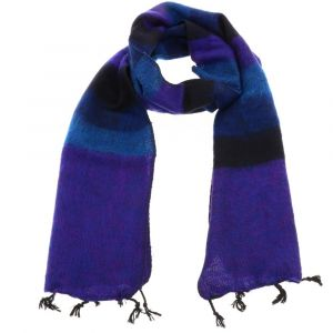 Yaku - scarf from 'yak wool' - purple/blue stripe