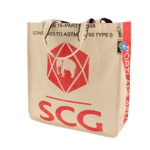 Sustainable shopper (no top zipper) of reused cement bags