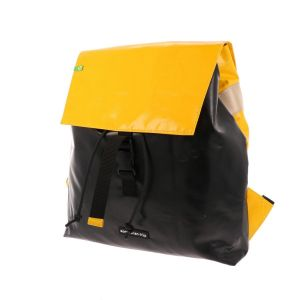Waterproof backpack made from recycled truck tarp