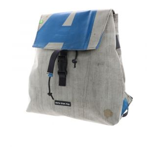 Cool, strong backpack made from upcycled truck tarps. Eco & one of a kind!