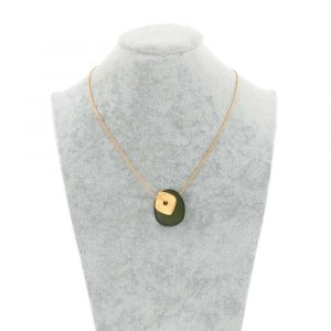 Sofia necklace with tagua pendant and gold coloured square - green