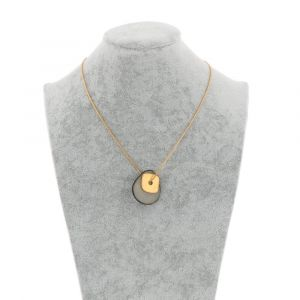 Sofia necklace with tagua pendant and gold coloured square - grey
