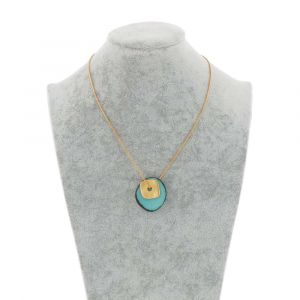Sofia necklace with tagua pendant and gold coloured square - aqua blue
