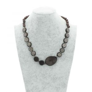Andrea necklace of tagua, chicon and acai - grey
