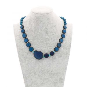 Andrea necklace of tagua, chicon and acai - bleu
