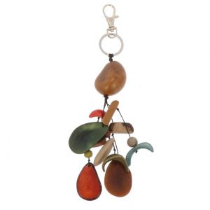 Tagua bag charm - earth tones