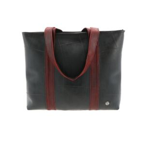 Ramblas – stylish shopper from tyre tube and eco leather - red