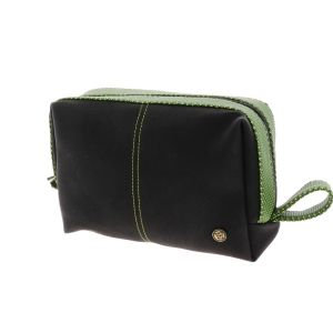 Toiletry bag in black PU leather with green accent - SAMPLE