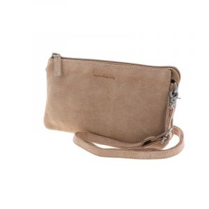 Lucy – versatile suede shoulder bag or clutch with many pockets - soft brown