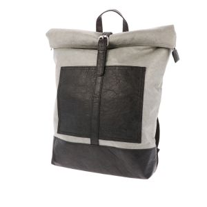 Lightweight Tyvek© backpack roll top Nikita - black/grey