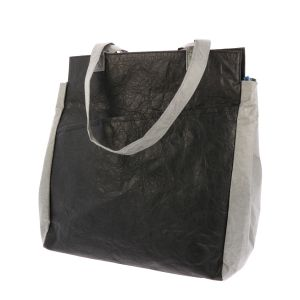 Lightweight Tyvek© shopper bag with zip Fiona - black/grey